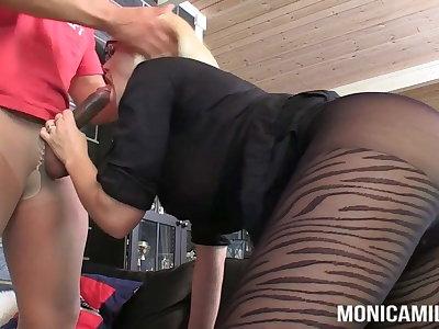 MonicaMilf and Samson is doing a double nylon fuck
