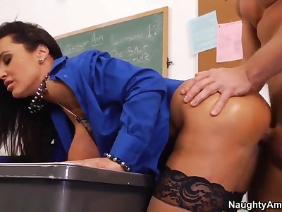 My first sex teacher is so hot and naughty brunette bitch