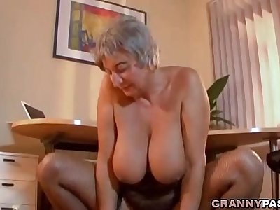 Bosomy Granny Seduces Young Guy Almost Her Big Tits