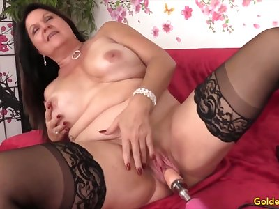Sexy and horny adult woman enjoys their pussies drilled by fucking machines