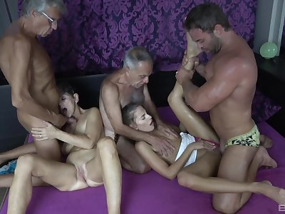 Hot granny craves for these duo big dicks beside her tiny holes