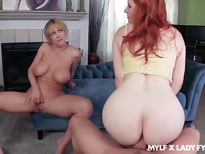 Dee Williams oozes milky cum damper FFM fuck with Lady Fyre