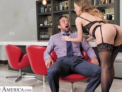 Hyper sexual milf Cherie Deville bangs handsome eat one's fill boy Johnny Castle