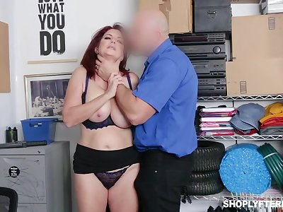 Ginger milf Andi James takes cumshots on big unaffected boobs after crazy pussy pounding