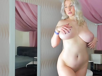 Busty, Blonde Plumper Is Naked And Playing With Their way Milk Jugs, In Front Of The Camera