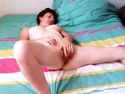 French Battle-axe Girl Cumming While Jerking a Cock