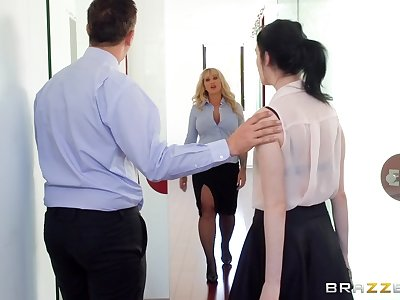 Thick mature fucked at the office after stripping be worthwhile for the new guy